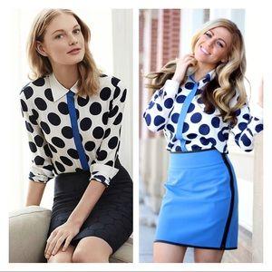 nwot • ann taylor • white navy polka dot blouse